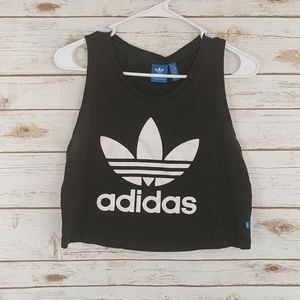 Adidas Logo Cropped Top Black White Size Small